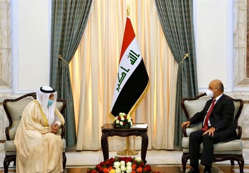عراق، جزئیات رایزنی های شیخ الصباح در بغداد، دعوت از برهم صالح برای سفر به کویت