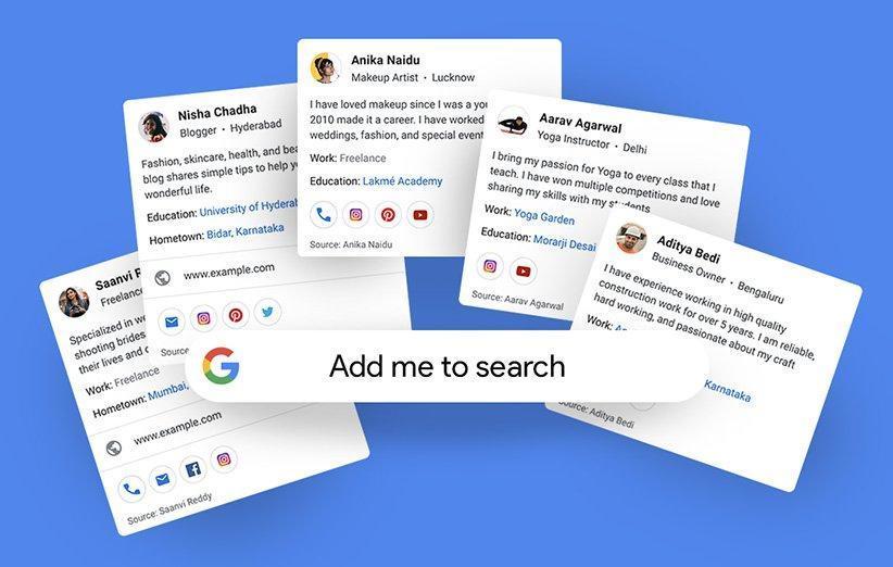 کارت ویزیت مجازی افراد در جست وجوی وب گوگل فعال می گردد