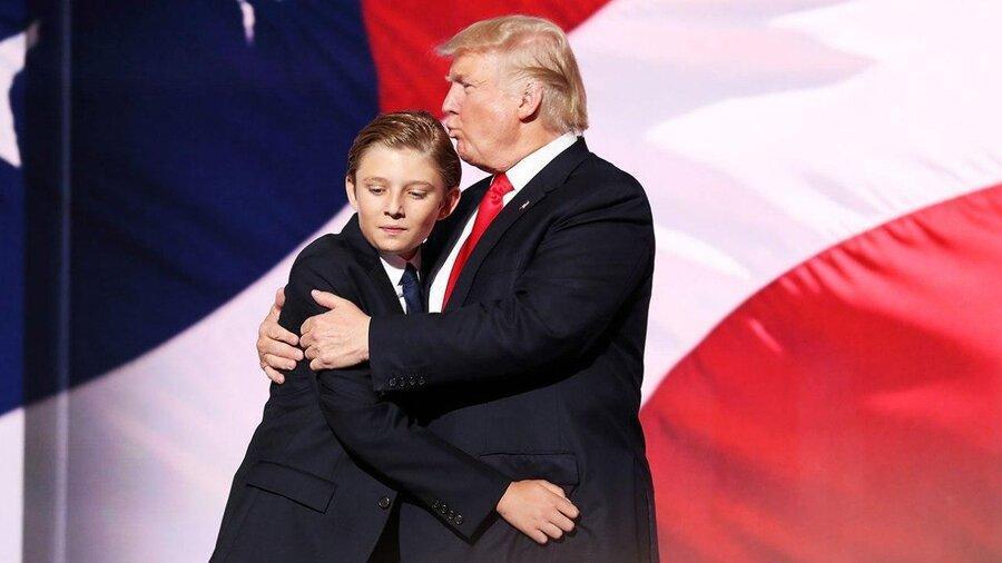 عکسی از پسر کوچک ترامپ که توجه رسانه ها را جلب نموده است