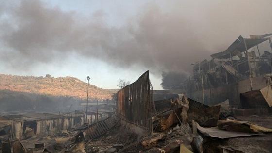 بزرگترین اردوگاه پناهجویان یونان در آتش سوخت